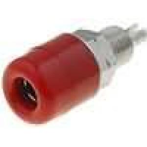 Zásuvka banánek 4mm 32A 60VDC červená niklovaný povrch 23mm
