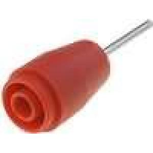 Zásuvka banánek 4mm 25A 1kVDC červená do PCB 5mΩ