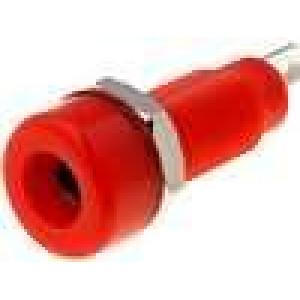Zásuvka banánek 4mm 10A 60VDC červená niklovaný povrch