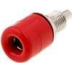 Zásuvka banánek 4mm 16A 60VDC průměr Ø8,1mm červená 3mΩ