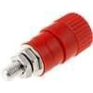 Zásuvka banánek 4mm 6A 60VDC průměr Ø6,2mm červená 1mΩ
