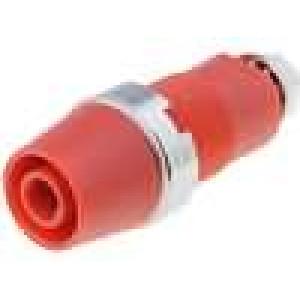 Zásuvka banánek 4mm 32A 1kVDC červená Montáž přišroubováním