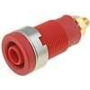 Zásuvka banánek 4mm 32A červená povrch zlacený 32mm