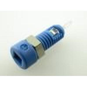 Zásuvka banánek 2mm 6A délka 21mm modrá povrch pocínovaný