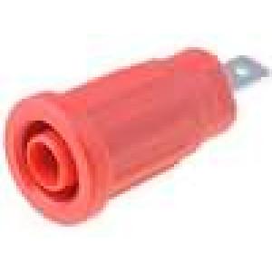 Zásuvka banánek 4mm 24A 1,5kVDC červená do panelu 5mΩ