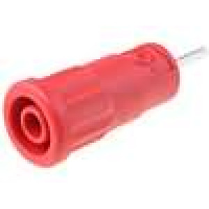 Zásuvka banánek 4mm 36A červená do PCB 5mΩ -25-80°C 1kV