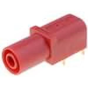 Zásuvka banánek 4mm 24A červená povrch zlacený 10mΩ -25-80°C
