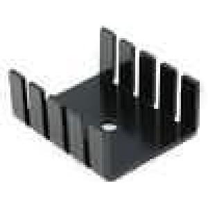 Chladič lisovaný TO220 černá L:30mm W:25mm H:12,5mm hliník