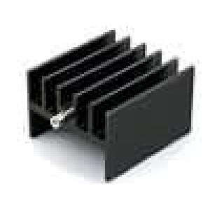 Chladič lisovaný H TO220 černá L:25mm W:23mm H:16mm hliník