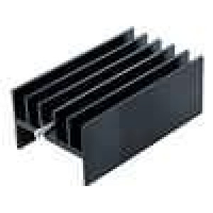Chladič lisovaný H TO220 černá L:40mm W:23mm H:16mm hliník