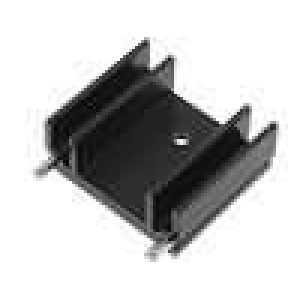 Chladič lisovaný TO220 černá L:25mm W:29mm H:12mm 15K/W