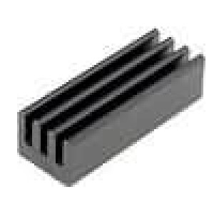 Chladič lisovaný černá L:19,05mm W:6,35mm H:4,83mm AL6063-T5