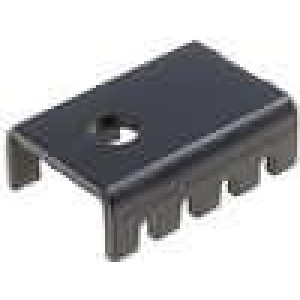 Chladič lisovaný U TO220 černá L:19,05mm W:13,21mm H:6,35mm