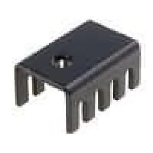 Chladič lisovaný U TO220 černá L:19,05mm W:13,21mm H:9,53mm