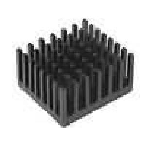 Chladič lisovaný černá L:24,76mm W:27,95mm H:15,24mm hliník