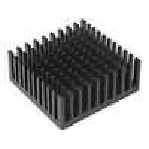 Chladič lisovaný černá L:37,92mm W:38,1mm H:16,51mm hliník