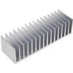 Chladič lisovaný žebrovaný L:60mm W:190,5mm H:50mm hliník