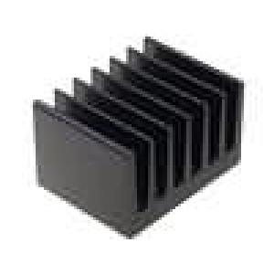 Chladič lisovaný žebrovaný černá L:50mm W:66mm H:40mm hliník
