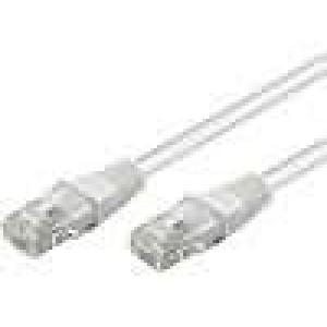 Síťový kabel U/UTP 5e propojení 1:1 licna CCA PVC bilá 1m