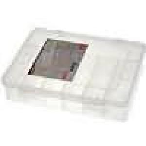 Zásobník - krabička s přihrádkami 180x149x40mm bilá