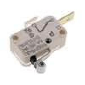 Mikrospínač s páčkou (s kladkou) SPST-NC 10A/250VAC ON-(OFF)