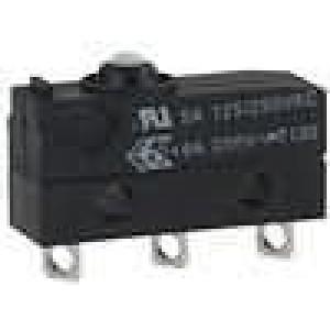 Mikrospínač s trnem SPDT 5A/250VAC 5A/30VDC ON-(ON) IP40