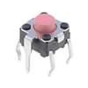 Mikrospínač 1-polohové SPST-NO 0,05A/24VDC THT 2,55N 6x6mm