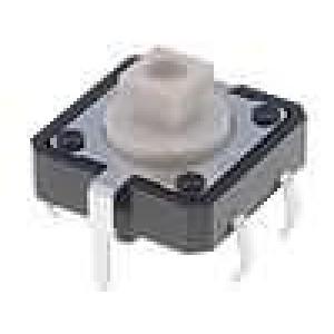 Mikrospínač 1-polohové SPST-NO 0,05A/24VDC THT 1,27N 12x12mm