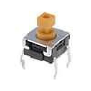 Mikrospínač 1-polohové SPST-NO 0,05A/24VDC THT 2,25N 6x6mm