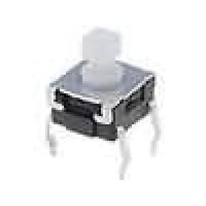 Mikrospínač 1-polohové SPST-NO 0,05A/24VDC THT 1,57N 6x6mm