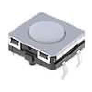 Mikrospínač 1-polohové SPST-NO 0,05A/24VDC THT 1,96N 12x12mm