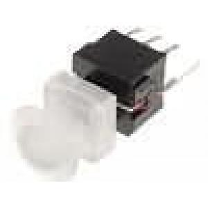 Mikrospínač 1-polohové DPDT 0,1A/30VDC THT LED 1,5N 10x10mm