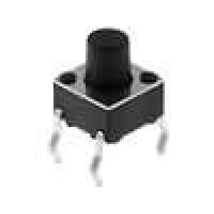 Mikrospínač 1-polohové SPST-NO 0,05A/12VDC THT 2,5N 6x6mm