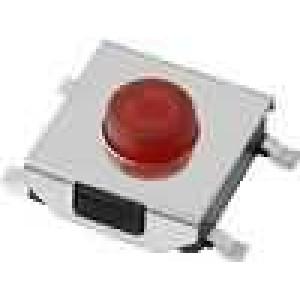 Mikrospínač 1-polohové SPST-NO 0,05A/12VDC SMT 1,6N 3,1mm