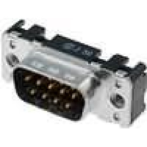 Zásuvka D-Sub 9 PIN vidlice západka PCB přímý THT M3