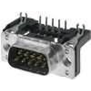 Zásuvka D-Sub 9 PIN vidlice západka PCB úhlové 90° THT M3