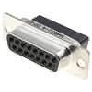 D-Sub 15 PIN zásuvka bez kontaktů na kabel B:7,9mm C:33,3mm
