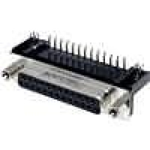 Zásuvka D-Sub 25 PIN zásuvka zajištění šroubky úhlové 90°
