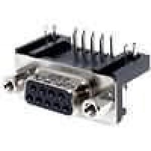 Zásuvka D-Sub 9 PIN zásuvka zajištění šroubky úhlové 90° THT