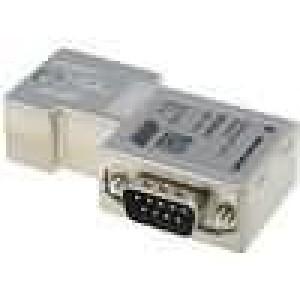 D-Sub drát, licna PIN:9 úhlové 90° šroubová svorka na kabel