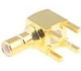 Zásuvka SMB vidlice úhlové 90° 50Ω THT na plošný spoj teflon