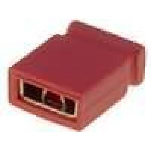 Propojka kolíkové zásuvka uzavřená 2,54mm 1x2 červená
