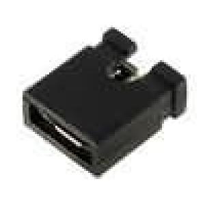 Propojka kolíkové zásuvka otevřené 2,54mm 1x2 černá