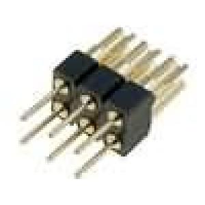 Redukce kolíkové PIN:6 přímý 2,54mm THT, pájení 2x3 zlacený