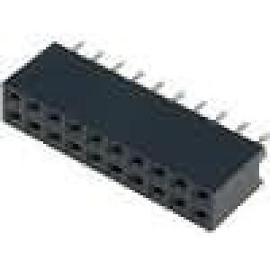 Zásuvka kolíkové zásuvka PIN:20 přímý 2,54mm THT 2x10 3A