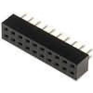 Zásuvka kolíkové zásuvka PIN:20 přímý 2mm THT 2x10 dél.2,5mm