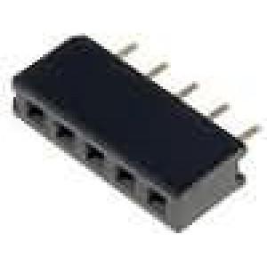 Zásuvka kolíkové zásuvka 5 PIN přímý 2mm THT 1x5 dél.2,5mm