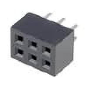 Zásuvka kolíkové zásuvka PIN:6 přímý 2mm THT 2x3 dél.2,5mm