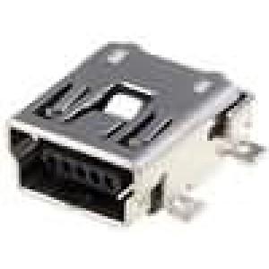 Zásuvka USB B mini na plošný spoj SMT 5 PIN vodorovné