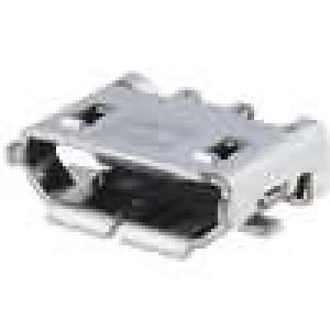 Zásuvka USB B micro na plošný spoj SMT 5 PIN vodorovné